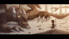 The Hobbit - Smaug and Bilbo -artist Otis Frampton Love it! Hobbit Art, The Hobbit, Hobbit Hole, Smaug Dragon, What Is An Artist, Facebook Cover Images, Facebook Header, High Fantasy, Fantasy Art