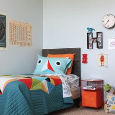 Sports, Science and Legos take center-stage in this 8-year-old boy's bedroom designed by Christina Williams.