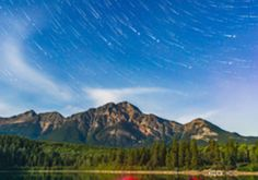 """Night sky photographer Alan Dyer recorded this timelapse montage at the Banff, Jasper and Waterton Lakes National Parks in the Canadian Rocky Mountains over the summer of 2014. At night, he told us, these sites are """"quiet and deserted, unlike by day when often hundreds of people throng these viewpoints"""". The experience of recording at night with just his DSLR camera in tow was, he described, """"a magical, if at times eerie experience"""". Credit: Vimeo/Alan Dyer/AmazingSky.net"""