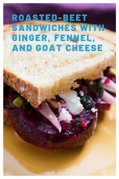 Roasted-Beet Sandwiches With Ginger, Fennel, and Goat Cheese Sandwich Fillings, Sandwich Shops, Sandwich Recipes, Red Foods, Fennel Recipes, Goat Cheese Recipes, Fennel Salad, Roasted Beets, Serious Eats