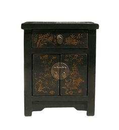 Chinese Black Golden Graphic End Table Nightstand - Golden Lotus Antiques 650-522-9888 goldenlotusinc@yahoo.com