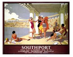 Southport poster for Liverpool's Overhead Railway, by artist Alfred Lambart. Posters Uk, Railway Posters, Poster Prints, Retro Posters, Train Posters, Poster Ads, Art Prints, Dublin, British Travel