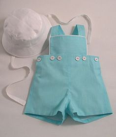 Turquoise Striped Dungaree Shorts - Patricia Smith Designs