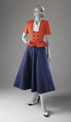 Cotton pique dress and jacket ensemble by Kay Railson, American, 1948. #vintage #1940s #fashion