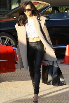 Naya Rivera Working Leather Trousers Into Her Casual Look In LA, 2013