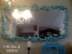 4 the love of wood: TURQUOISE - painted mirror tutorial