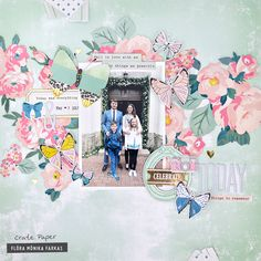 Flowers and butterflies layout made with @crate_paper Maggie Holmes Chasing Dreams collection by @floramfarkas #cratepaper #maggieholmes #cpchasingdreams #mhchasingdreams