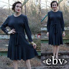 Vintage 80's Grey Belted Mini Dress M L by shopEBV on Etsy, $36.00