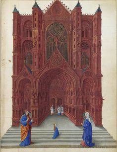 Presentation of the Blessed Virgin as a child in the Temple - Limbourg Brothers, Miniature from Les Très Riches Heures du duc de Berry, c. Medieval Manuscript, Medieval Art, Illuminated Manuscript, Walt Disney Pictures, Berry, Mother Of Christ, Mother Mary, English Reformation, Immaculate Conception