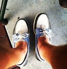 Blue and white Sperrys. I'm always a bit careful when buying shoes with dynamic colors. They can often times limit your clothing options.