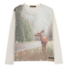 Shine Deer T-Shirt Light grey  Finger in the nose