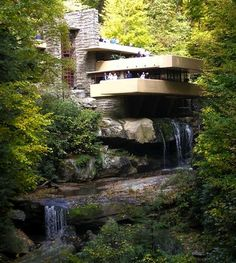Fallingwater was designed by the incomparable Frank Lloyd Wright in 1935. The house represents an attempt by the architect to build a structure both inspired by and integrated with nature. Taking its cues from Japanese architecture, a waterfall on the site, and the surrounding Pennsylvania forest, Fallingwater is considered a consummate success in creating harmony between man and nature.