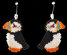 Puffin Earrings by HandMadeBeadedCrafts on Etsy