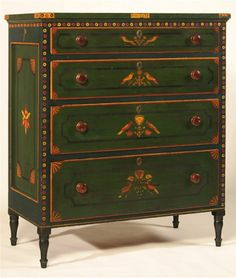 "The Chrysler-Garbisch Mahantongo Chest of Drawers, dated ""1829""  Signed by cabinet maker ""John Mayer"". Decorated by Reverend Isaac Stiehly / Mahantongo Valley, PA, dated ""Jenner (January 1829), polychromed decorated pine, maple pulls  Miscellaneous: Ex collection: Henry Reed. Illust Weiner and Sullivan, ""Decorated Furniture of the Schwaben Creek Valley"", The Publications of the Pennsylvania German Sociey, Vol. XIV , fig. 22; Reed,"