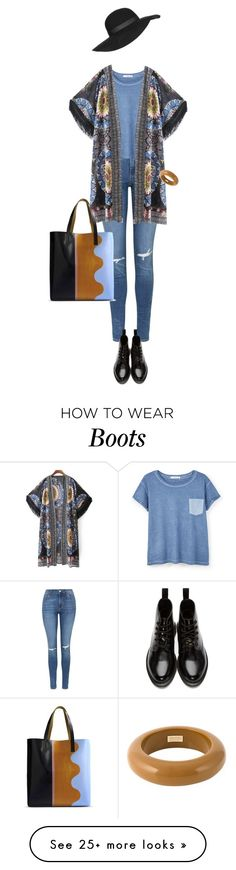 """Casual Blue"" by lorantin on Polyvore featuring Topshop, MANGO, Dr. Martens, Dsquared2 and Marni"