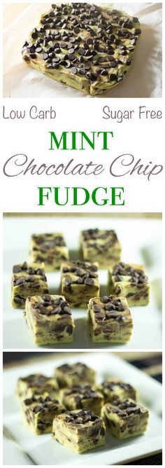 This sugar free low carb mint chocolate chip fudge has only 0.7 grams net carbs per square. It's a sweet treat that can be enjoyed by those on a keto diet.