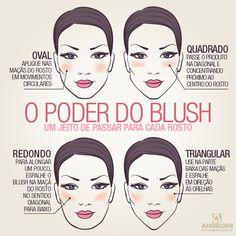 Poder do Blush Contour Makeup, Skin Makeup, Makeup Brushes, Blush Makeup, Beauty Make Up, Beauty Care, Beauty Hacks, Love Makeup, Makeup Tips