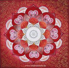 Szeretet mandala - vászonra festett mandala, 40 x 40 cm - Tündérportéka webáruház