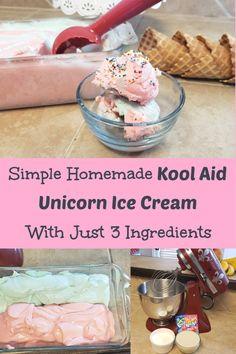 Simple Homemade Kool Aid Unicorn Ice Cream With Just 3 Ingredients #icecream #homemade #diy #unicorn #koolaid 2 Ingredient Ice Cream, Blue Raspberry Lemonade, Summer Recipes, Summer Ideas, Summer Fun, Unicorn Ice Cream, Sweet Tarts, Kool Aid, 3 Ingredients