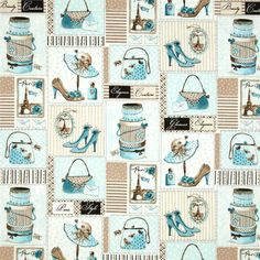 Glamour Inc. Elements Of Style Aqua $7.82/y by Michele D'Amore for Benartex Fabric