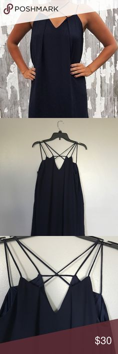 """New cross front boutique dress NWT Perfect dress for any season. Cross front design with shift bodice. Sheer Overlay with full lining. Measures 24"""" underarm down. Perfect condition. She and Sky Dresses Mini"""