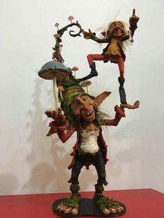 Elves And Fairies, Clay Fairies, Woodland Creatures, Magical Creatures, Mushroom Art, Baby Fairy, Fairy Art, Fairy Dolls, Fantasy Art