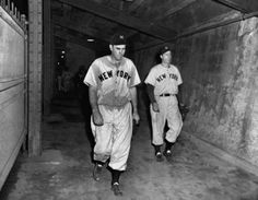 Oct. 3, 1947, Brooklyn, NY.  Floyd Bevens walks off a loser after his last pitch of game 4 of the 1947 World Series.  Bevans had a no hitter until Cookie Lavagetto lined a two-out, two on double off the right field wall not only to break up the no-no, but to win the game for the Dodgers.