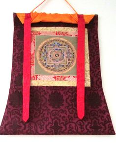 Buy Hand Painted Mandala Thangka with Silk Frame by nepalhandmade. Explore more products on http://nepalhandmade.etsy.com