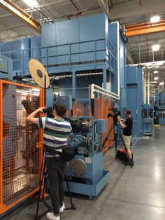 Discovery Channel film crew at the STIHL guidebar plant