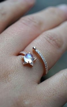 unique dazzling rose gold moonstoe star adjustable ring for her via www.jewelsin.com