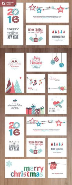Christmas and New Year Greeting Card. Christmas Patterns. $12.00