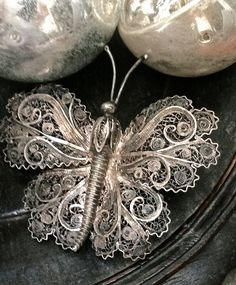 SILVER BUTTERFLY BROOCH Vintage gorgeous brooch. By Czarchild Art and Antiques on Etsy