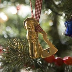 Photo: Helen Norman   Brass keyhole covers and skeleton keys make excellent Christmas decorations. These were featured when This Old House Magazine helped decorate the Presidential Guest House using product from House of Antique Hardware!    You can find keys and covers here:    http://www.houseofantiquehardware.com/furniture-skeleton-key    http://www.houseofantiquehardware.com/keyhole-covers