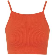TOPSHOP PETITE Ribbed Crop Top ($14) ❤ liked on Polyvore featuring tops, clothes and shoes, orange, shirts, topshop, petite, red, red crop top, red crop shirt and red top