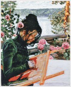Akseli Gallen-Kallela aprilie 1865 - 7 martie pictor şi grafician finlandez - Marie stickend in Kalela Illustrations, Illustration Art, Blog Art, Sewing Art, Female Art, Art Boards, Art Museum, Fiber Art, French Artists