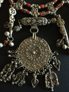 Red coral and silver necklace, Yemen (detail)