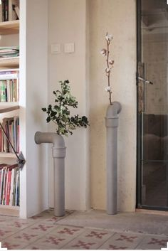 Concrete Pipeline Stem Vases - available at www.dorisbrixham.com