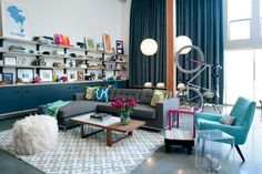 HGTV presents a fun, eclectic industrial loft where spaces are separated by color, texture and unusual accessories.
