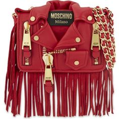 MOSCHINO Fringed jacket leather shoulder bag (3.820 RON) ❤ liked on Polyvore featuring bags, handbags, shoulder bags, red, moschino shoulder bag, red fringe purse, red handbags, genuine leather handbags and red leather purse