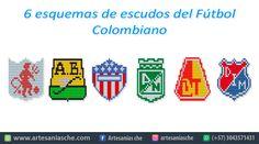Descarga gratis 6 esquemas de escudos del Fútbol Colombiano – Artesanías Che Logos, Macrame, Amor, Hand Designs, Fashion Necklace, Logo, A Logo