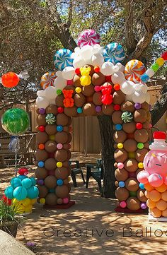 Balloon twisting entertainment and custom balloon … Cathy Olson – balloon artist. Balloon rotation entertainment and customized balloon decorations for parties and events. Located in Camarillo, California and serves Candy Theme Birthday Party, Candy Land Theme, Candy Party, Carnival Birthday, Birthday Parties, Balloon Decorations Party, Balloon Garland, Birthday Decorations, Outdoor Decorations