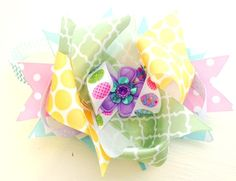 Easter Egg Pastels Boutique Layered Hair Bow Clip