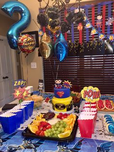 Batman Superman Birthday party snack table 😋