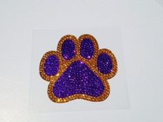 8f163e6a8a055 LSU Tigers Paw Print Rhinestone Glitter Bling Car Window Decal Sticker
