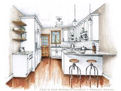 Small Kitchen Rendering by Mick Ricereto