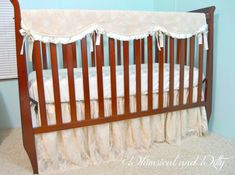 bumperless lace baby crib bedding champagne by