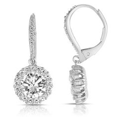 Shop for Collette Z Sterling Silver Round-cut Cubic Zirconia Halo Drop Earrings and more for everyday discount prices at Overstock.com - Your Online Jewelry Store!