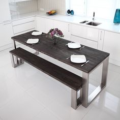Stainless steel table top on wooden legs casa pinterest square shaped stainless steel dining table workwithnaturefo