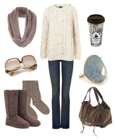 """Let's drink coffee Fall Winter outfit"" by natihasi ❤ liked on Polyvore featuring moda, True Religion, Jigsaw, People Tree, UGG Australia, Kooba y Balenciaga"