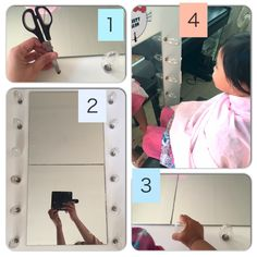 How to make An easy Vanity mirror under 5 minutes for #mishelkittyzania small gathering party #kawan2renekMishen . You'll need; 1 big foam board, scissors, light bulb, IKEA cheap mirrors (2 pieces)  1) Glue the mirror onto board 2) Make a hole using the scissors- at both side of the mirrors (with good distance between each) 3) Push in the bulbs into hole (it'll stay nicely if the hole is smaller than the bulb) Taraaa siap! 4)Let your daughter daydream of having her own beauty salon #Deco…